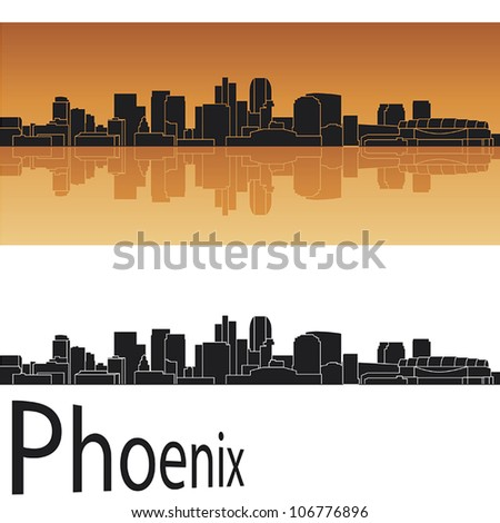 Phoenix skyline in orange background in editable vector file - stock vector