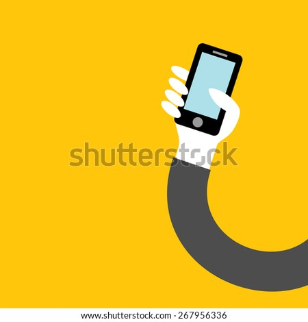phone in hand of businessman on yellow background vector - stock vector