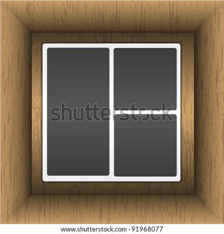 Photo album in wooden box. - stock vector
