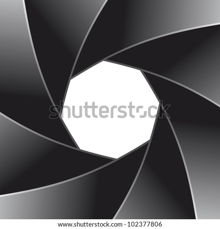 Photo diaphragm open over white. - stock vector
