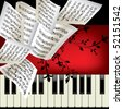 Piano vector background with notes - stock