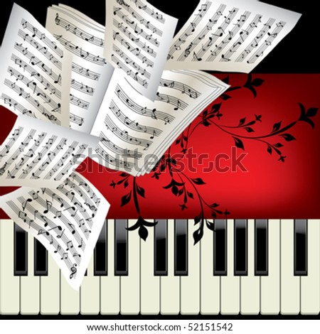 Piano vector background with notes - stock vector