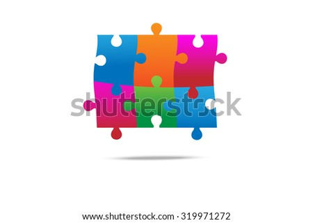 6 pieces of colorful jigsaw on white background - stock vector
