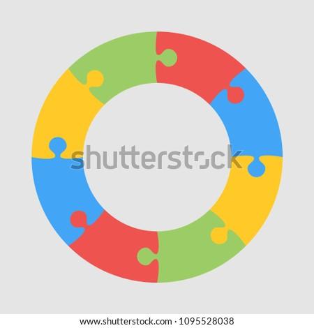 8 Pieces Puzzle Circle Infographic Presentation Steps Business Diagram Section Compare Service