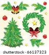 Pine tree Christmas design elements, vector - stock vector