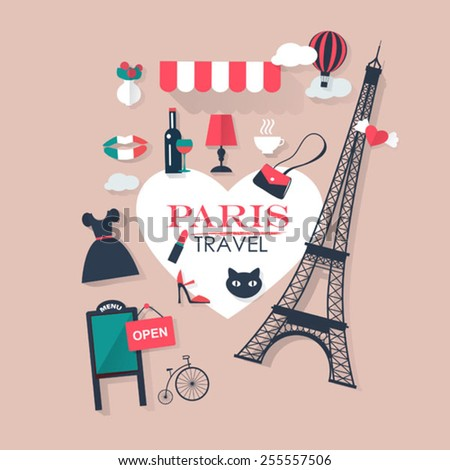 pink background Paris tourism concept image.Vacation flat vector french icons - stock vector