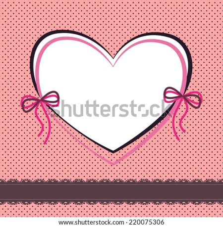 pink background with lace ribbon, a pattern of small circles and the frame in the shape of a heart - stock vector