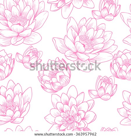 Pink lily on a white background.Vector seamless pattern