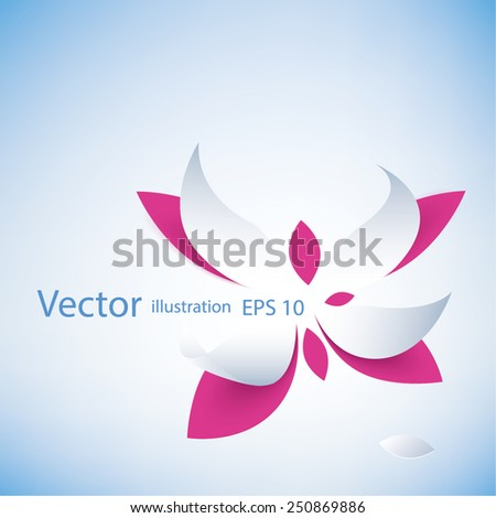 pink lotus flower icon isolated on blue background - stock vector