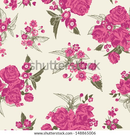 Pink Seamless Roses Vector Pattern - stock vector