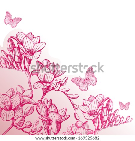 pink sketch of flowers by hand on white background