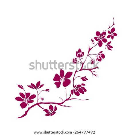 Pink twig sakura blossoms. Vector illustration - stock vector