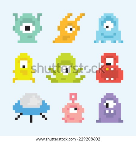 """Pixel art aliens"" isolated vector set - stock vector"
