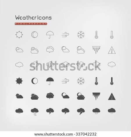 Pixel perfect weather icons. Line and filled. - stock vector