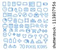 70 pixel web icons collection - stock vector