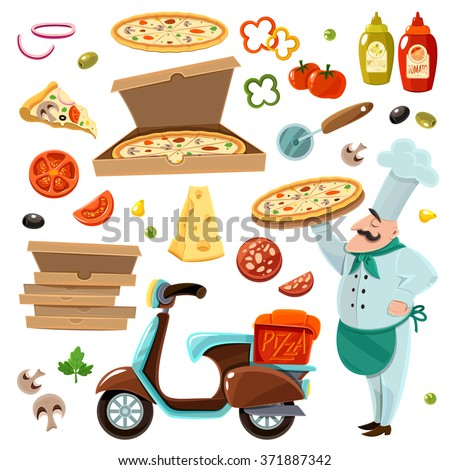 Pizza cartoon set with vegetables cheese and mushrooms isolated vector illustration  - stock vector