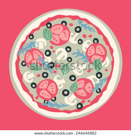 Pizza with tomato, mushrooms and olives. Vector illustration.  - stock vector