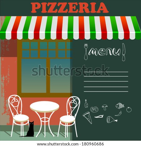 pizzeria in the street - stock vector