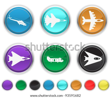 plane icons,each color icons set is on a different layer - stock vector