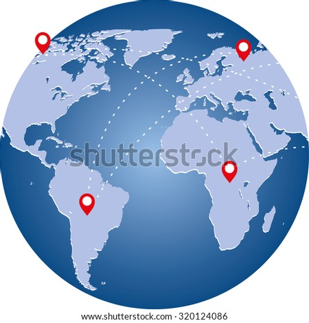planet image with world map and connection lines.  Technology image of globe.  - stock vector