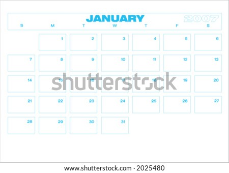 2007 Planner. Fully editable. Type is both as fonts and as curves. Each month fits an A4 page. (only one month showed, but the twelve are on the file) - stock vector