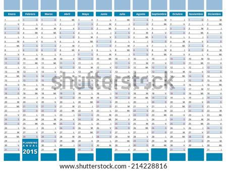 2015 planning in spanish. 2015 calendar - stock vector