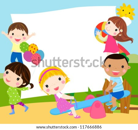 Playing kids and frame - stock vector