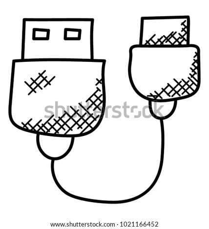 Plug Wire Cable Usb Computer Data Stock Vector HD (Royalty Free ...