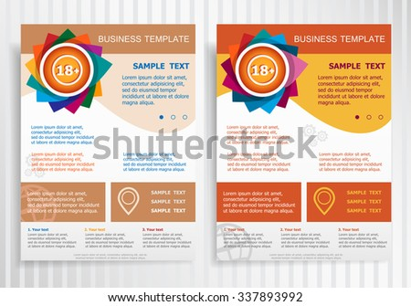 18 plus years old sign. Adults content icon on abstract vector brochure template. Flyer layout. Flat style.