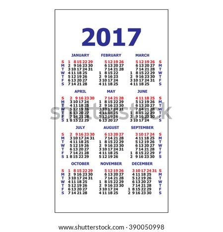pocket schedule template - 2017 pocket calendar template calendar grid stock vector