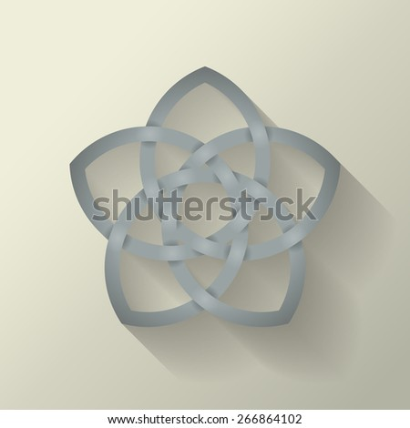 5 point Celtic knot with a long shadow effect.  This file is Vector EPS10. It uses clipping mask, blends and opacity masks.  - stock vector