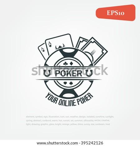 Poker emblems. Poker online poker logo - stock vector