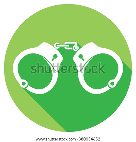 police handcuffs flat icon - stock vector