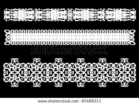 Polynesian ornament on a black background. Vector design elements.
