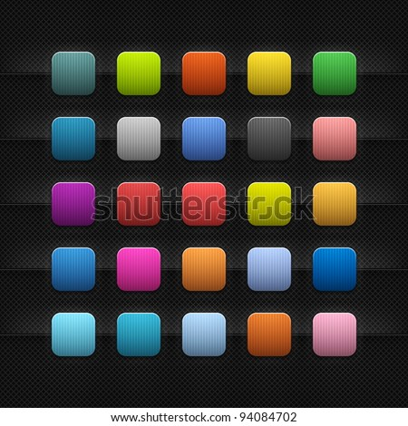 25 popular color blank web internet button. Striped rounded square shape with black drop shadow on dark metal background texture. This vector saved in 10 eps. See more web button in my gallery
