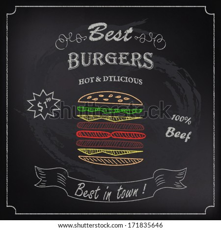 Poster Burgers with price on chalkboard - stock vector