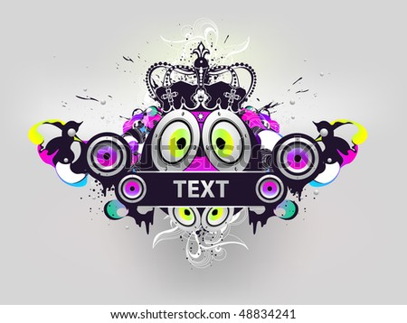 poster with crown and tape and loudspeaker - stock vector