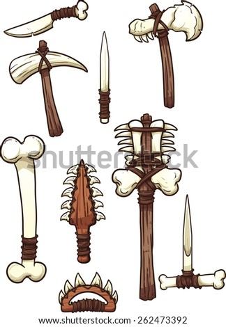 Prehistoric bone weapons. Vector clip art illustration with simple gradients. Each on a separate layer. - stock vector