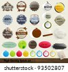 30 Premium and High Quality Labels and frames set. With old paper texture. - stock photo