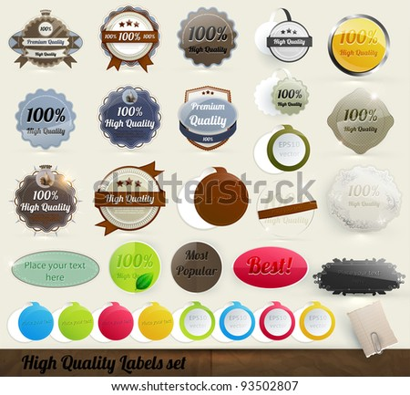 30 Premium and High Quality Labels and frames set. With old paper texture. - stock vector