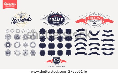 50 Premium design elements. Great for retro vintage logos. Starbursts, frames and ribbons Designers Collection - stock vector
