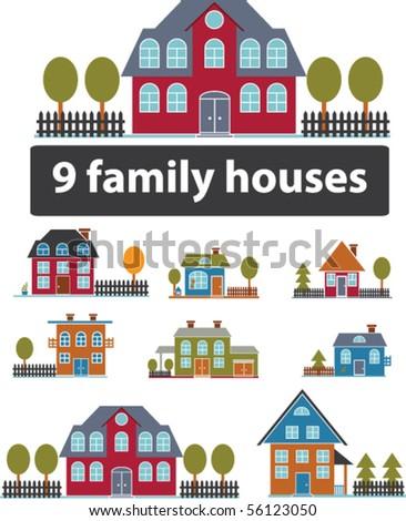 9 premium family houses. vector - stock vector