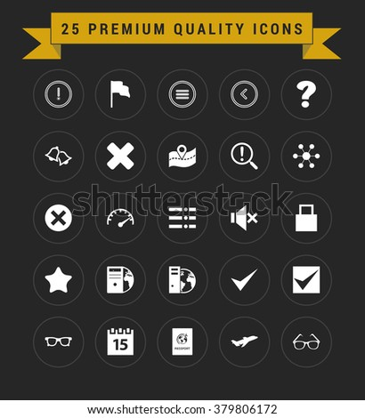25 Premium Quality icon set. vintage yellow banner on top. simple pictogram minimal, flat, solid, mono, monochrome, plain, contemporary style. Vector illustration web internet design elements - stock vector
