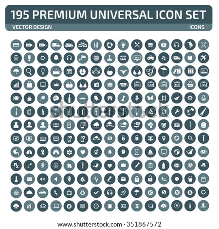 195 Premium Universal Website Icon Set,clean vector