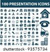 100 presentation icons set, vector - stock vector