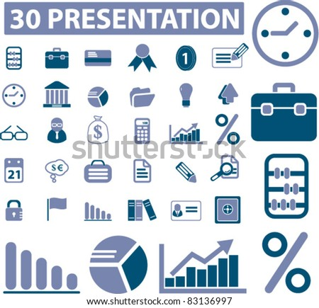 30 presentation icons, signs, vector illustrations set - stock vector