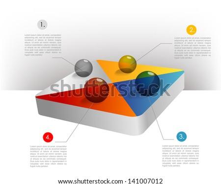 Presentation template hexagonal graph. Pie chart diagram. Infographics web elements. - stock vector