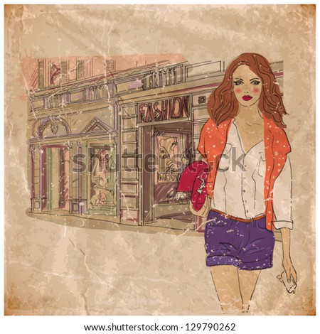 pretty girl on the street. vintage style. eps10 - stock vector