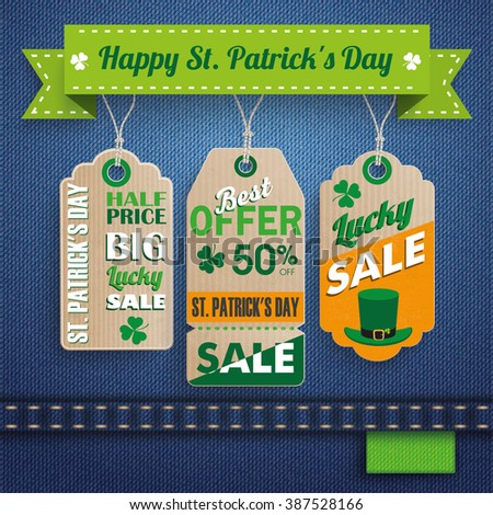 3 price stickers on the jeans background for St. Patrick's Day Sale. 10 vector file. - stock vector