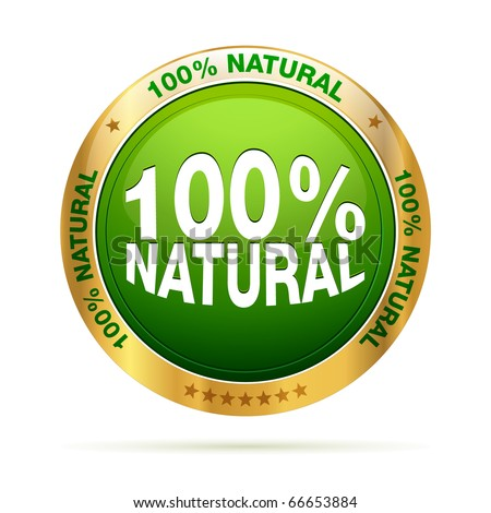 100 procent natural | editable vector graphic - stock vector